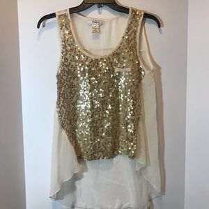 Ivory and gold sequin sheer back tank